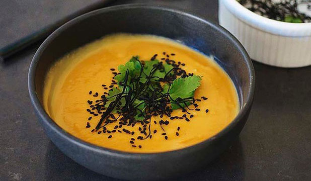 HEALTHY AND HEARTY: Kumara, miso and wasabi soup.