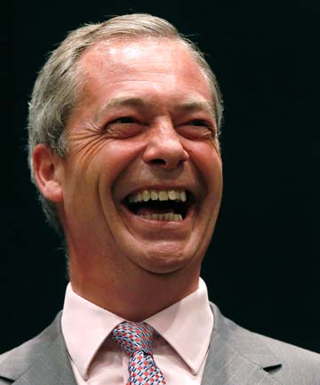 NIGEL FARAGE: His UK Independence Party, which advocates immediate withdrawal from the EU, defeated the opposition Labour party and PM David Cameron's Conservatives.