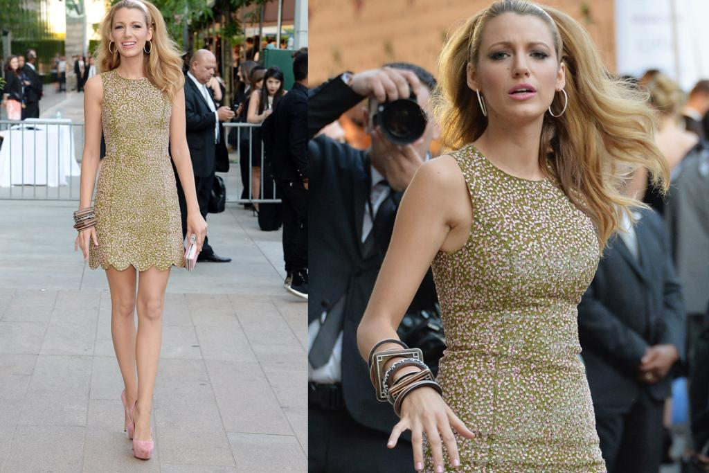 THE GOOD, JUST: Blake Lively doesn't have to try hard to look fabulous, and I love the pink-sequins-on-green element of this Michael Kors dress, and the scalloped hem. But, with the hair, the hoops, the bangles, it almost looks like she's actually en route to the set of Mad Men rather than just paying homage to the Sixties.