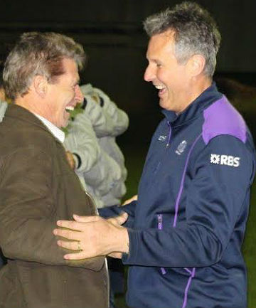 HOMECOMING: Former Bombay and Counties Manukau winger Terry Brooke, left, welcomes his former team-mate, Scotland Under 20s coach and the original Kilted Kiwi Sean Lineen, back to the club.
