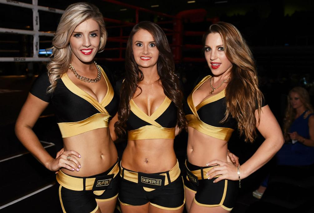 Ring Girls pose for a photo ahead of the first fight of the evening.