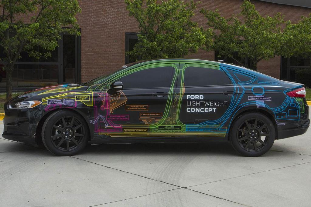 Ford saved around 400 kilograms through the use of lightweight technology in a family car.