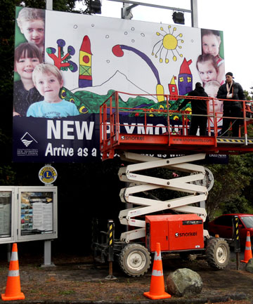 Pukekura Kindergarten's winning artwork was transformed into a bright Welcome to New Plymouth billboard.