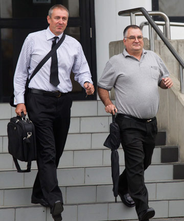 """CYNICAL ACTIONS"": James Moore, left, and Brett Dutton were found guilty of a third of the 95 fraud charges they were facing. They  will be sentenced in August."