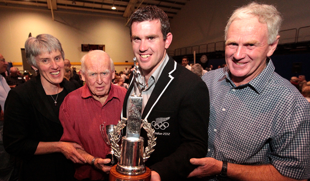 AT THE TOP: Joseph Sullivan, third from left, won the title of Marlborough Sportsperson of the Year for the third time in 2012. He is pictured with his family, from left mother Elaine Sullivan, grandfather Michael Sullivan, and father Mike Sullivan.