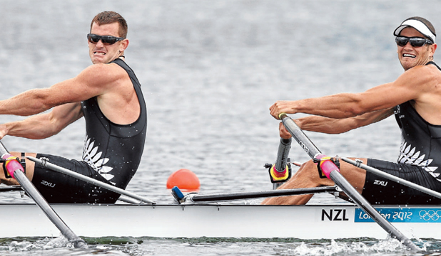 GLORY DAYS:  Joseph Sullivan, left, and Nathan Cohen grit their teeth on their way to Olympic gold in London.