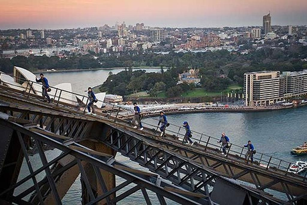 The view from the top of Sydney Harbour Bridge.