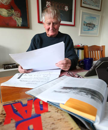 THE EVIDENCE: Invercargill man Jonathan Tucker with his research intontebelieves he has found proof that New Zealander James Hargest landed on Gold Beach, Normandy.