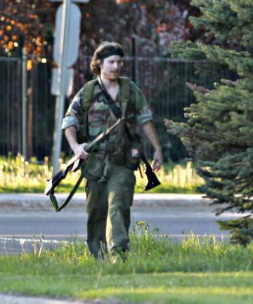 ON THE RUN: Royal Canadian Mounted police tweeted this picture of the suspect shortly after the shootings.