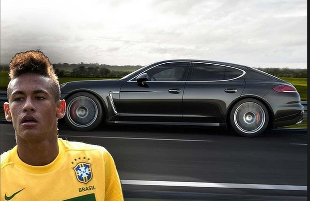 Brazillian number 10, Neymar da Silva Santo Junior, drives the powerful four-door Porsche Panamera Turbo S.
