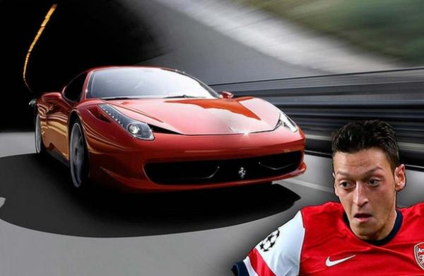 German midfielder, Mesut Ozil, is anything but understated on the roads in his Ferrari 458.
