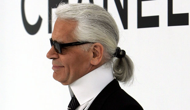 RARE SMILE: Karl Lagerfeld in an uncharacteristic moment of positivity.