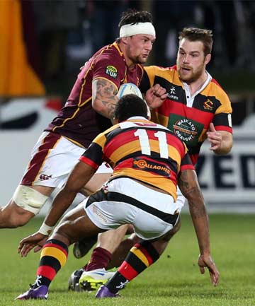 SWITCHING ALLEGIANCES: Southland-raised hooker Brayden Mitchell (right) playing for Waikato against the Stags last season.