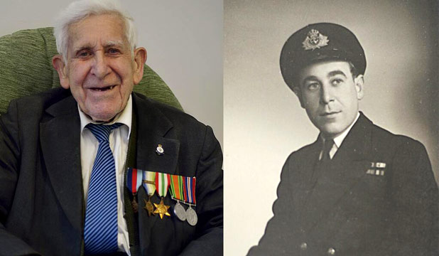 GREAT ESCAPER: Bernard Jordan said he was going for a walk and instead went to Normandy for D-Day celebrations. At right is Jordan during his time in the Royal Navy.