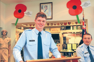 HIGH FLYER: Officer cadet Corban Phillips from Blenheim will complete his initial officer training at Base Woodbourne this month before starting pilot training.