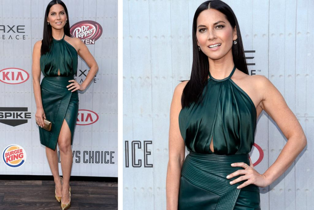 THE GREAT: The border on this leather wrap skirt reminds me of the worst-of-the-worst in '80s leather jackets, but who cares, as Olivia Munn looks fantastic in J. Mendel. This deep forest green colour sings on her, and the sporty silhouette of these separates suits Ms. Munn's style to a T.