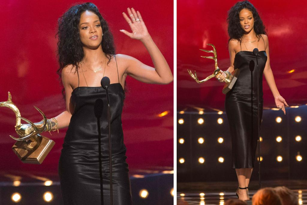 THE GOOD: Rihanna picked up the 'Most Desirable Woman' golden antlers on the night, and she certainly lives up to the gong in this sleek midi dress - with her hair gorgeous and curly, and her makeup minimal, the 26-year-old singer lets her natural beauty shine through.