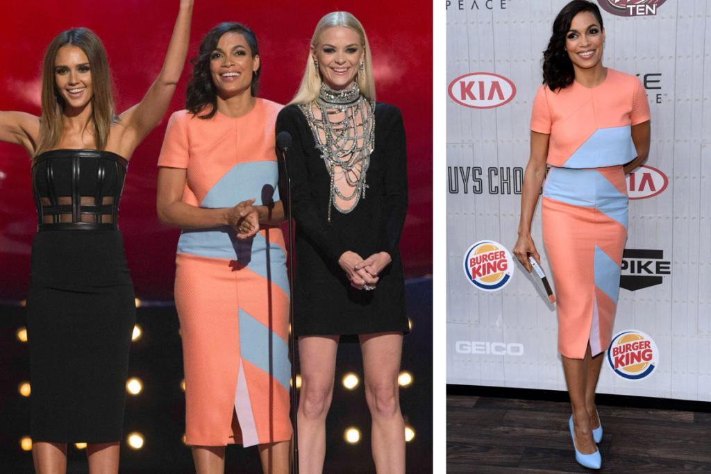 THE FRESH: Roksanda Ilincic was the designer responsible for the Duchess of Cambridge's bright yellow dress, which Wills said made her look like a banana: aka, the fashion guru is not afraid of colour. And I love the peach and sky blue combo of Rosario Dawson's Ilincic look, and adore those pale-blue pumps. I'm not sure that the crop-top is the most flattering - I think it just needs to end a tiny bit higher to work, but overall brava to Dawson for taking a risk.