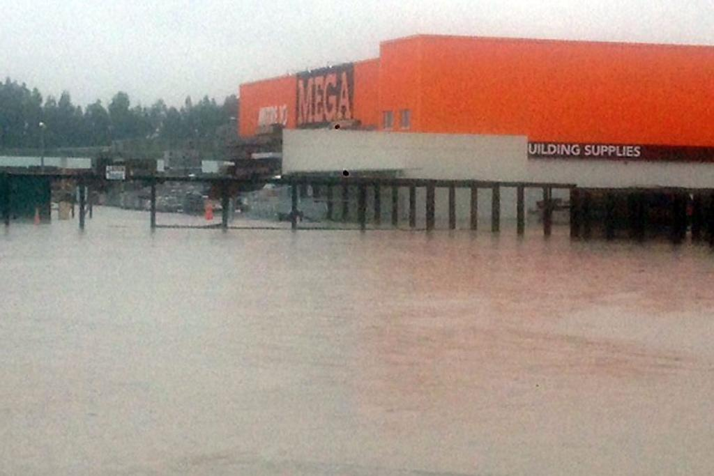 DIY DIFFICULTIES: Floodwaters surround Mitre 10 in Rangiora.