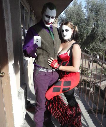 VILLAINS: Jerad and Amanda Miller as the Joker and Harley Quinn.