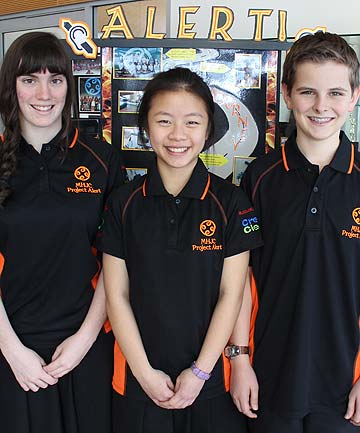 YOUNG ENTREPRENEURS: Fourteen-year-old students Courtney Powell, Cailey Dayu and Dylan Townsend from Mission Heights Junior College,  are in the United States for the Future Problem Solving International Conference.