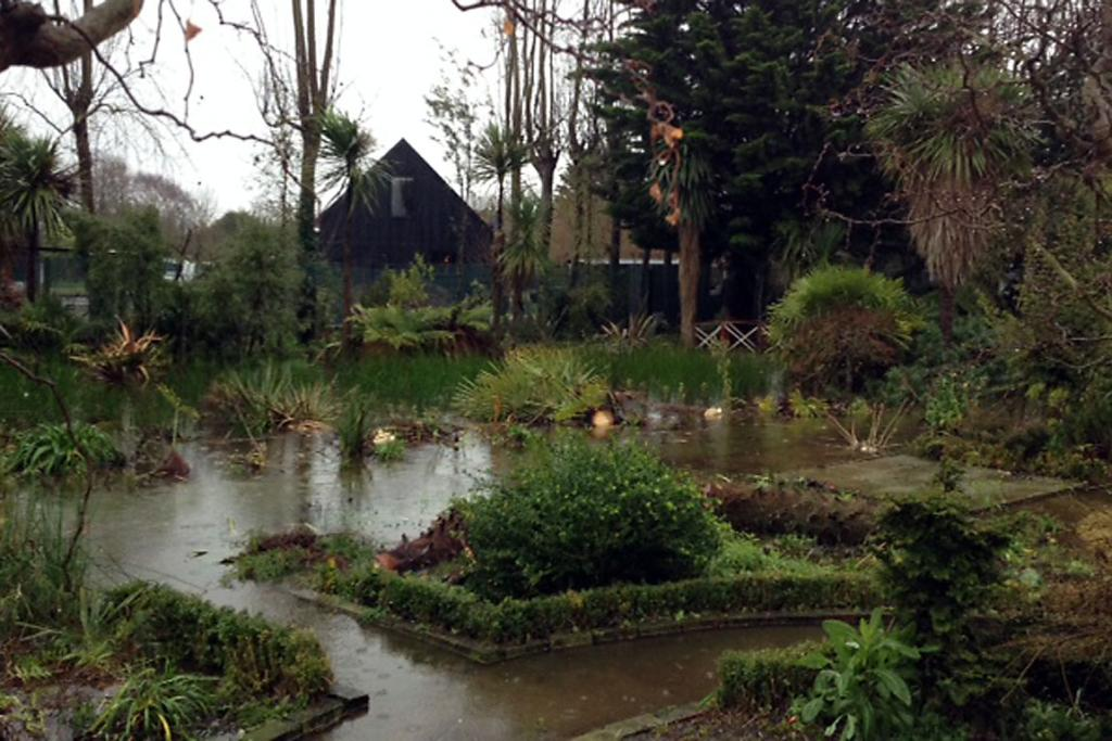TURNING INTO A POND: Rainwater creeps over a residential garden in Waikuku Beach Rd.