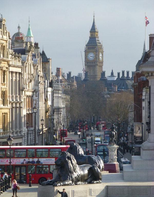 Use the Oyster Card to take a double-decker bus to Trafalgar Square, for a classic view of Big Ben.