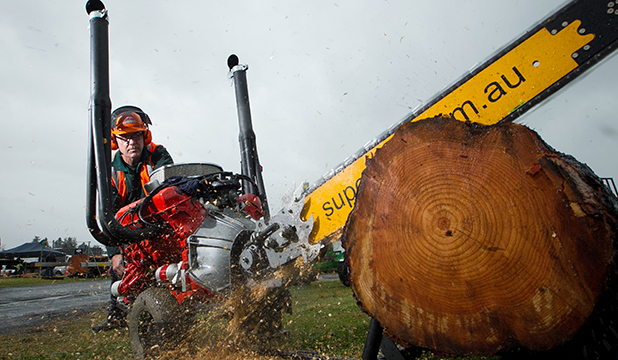 TOUGH TOYS: Engineer David Burder and his V8 chainsaw.