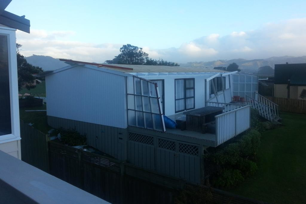 The storm took the roof off this Waihi Beach house.