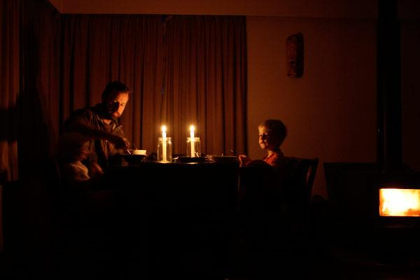 POWER OUT: A Hamilton family's breakfast by candlelight.