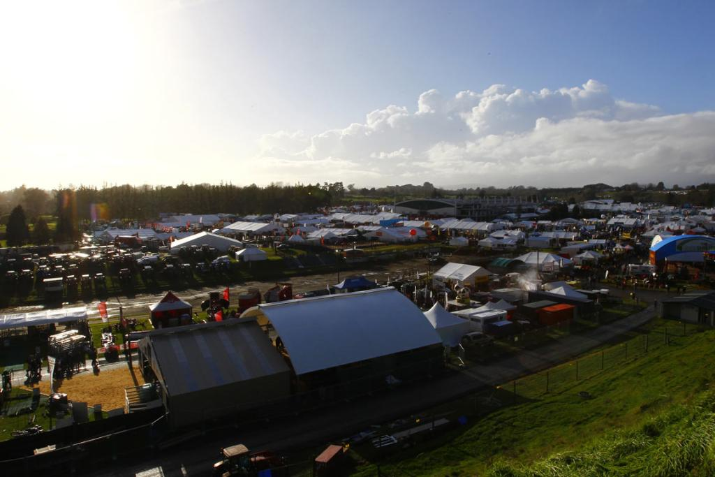 After a stormy night, the sun shines over the first day 2014 National Fieldays at Mystery Creek.