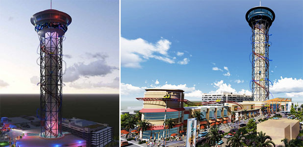 COMING SOON: The Skyplex complex will feature the world's tallest roller coaster wrapped around its 174m tall tower.