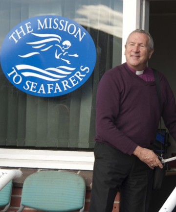 GOOD SUPPORT:  Bishop Richard Ellena opens the new Mission To Seafarers building.