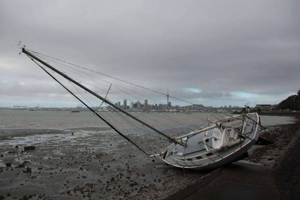 A boat grounded at the North Shore end of Auckland's Harbour Bridge.