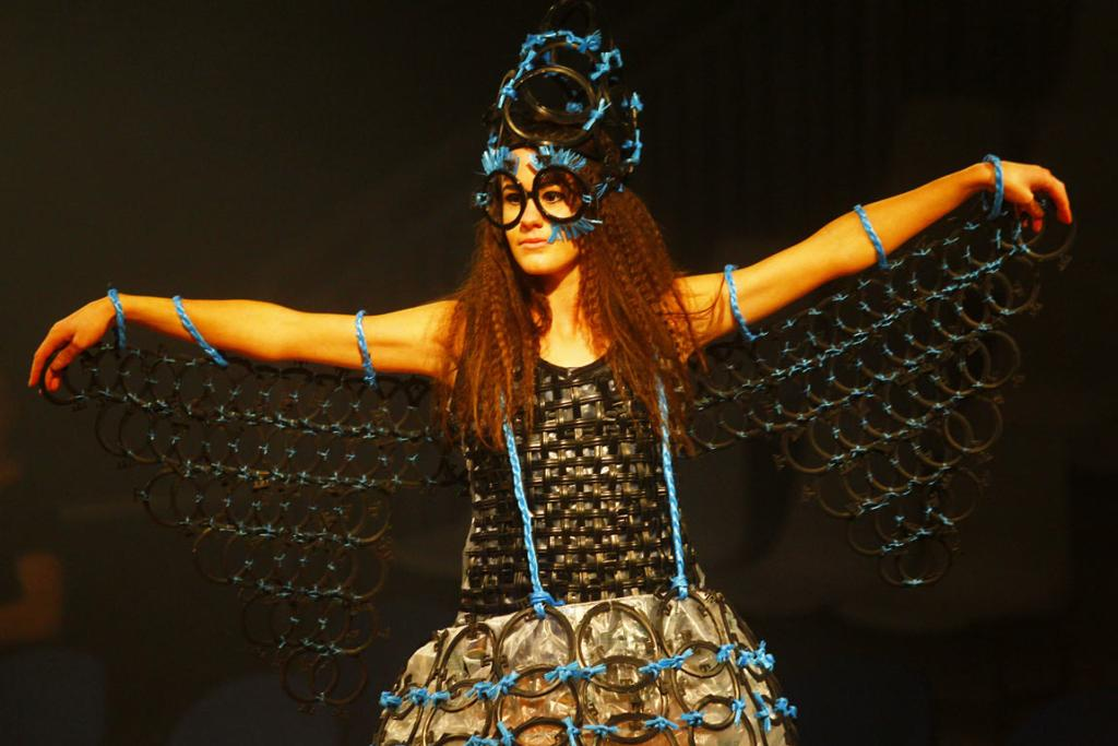 A Sandra East-designed outfit on the runway for the Ag Art Wear Show at the 2014 National Fieldays at Mystery Creek.