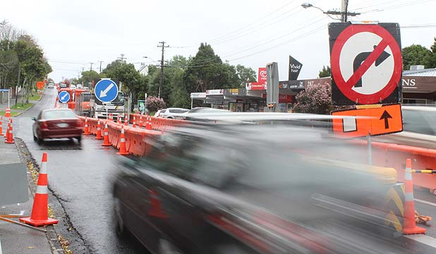 DRIVING BY: Roadworks make it difficult for customers to stop at the small set of shops on St Heliers Bay Rd.
