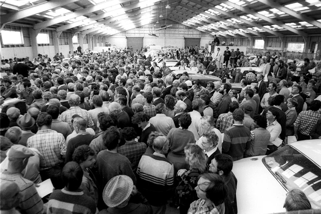 1986: Thousands gathered in Wrightson's wool stores on Evans St for an auction of cars water-damaged in the devastating 1986 South Canterbury floods.