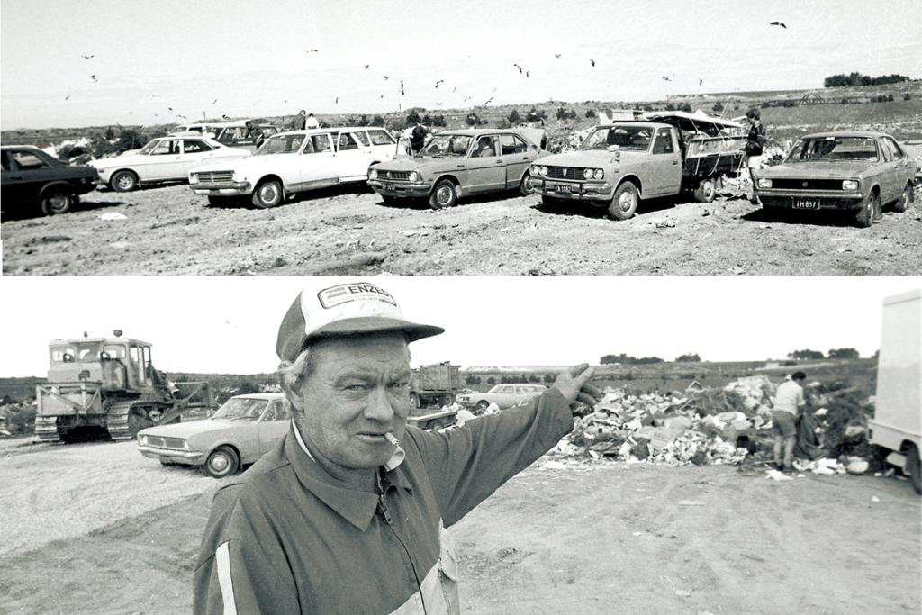 1985: Back in the day, the dump really was a dump, where the seagulls swirled above and the rats scurried below, and you offloaded pretty much whatever you wanted from your car or ute. For avid scavengers, though, the risk was heading home with a bigger load than they'd got rid of. Here, Ivan Robinson keeps an eye on proceedings.