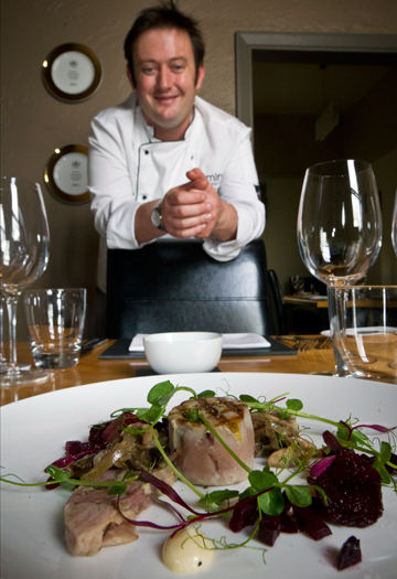 PLEASANT STARTER: Mint Dining Room head chef Grant Dicker with a pheasant dish as part of the restaurant's involvement in the New Zealand Gamebird Festival.