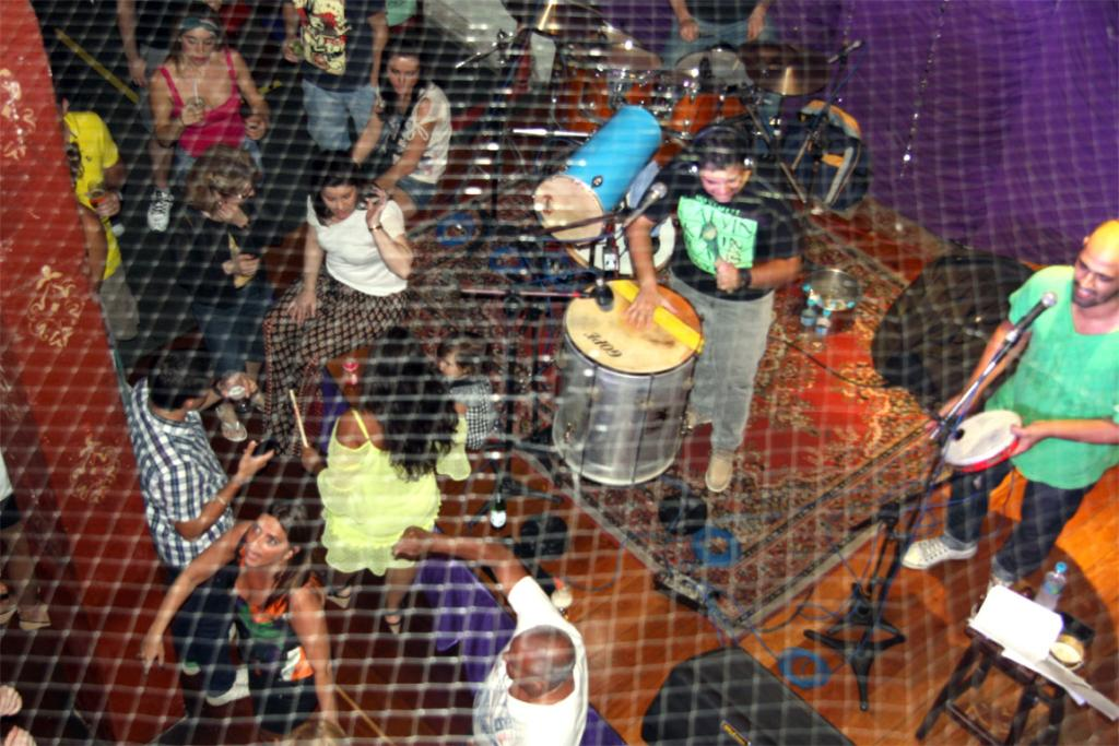 Seen from the second floor, patrons dance to the sound of a samba band at the Rio Scenarium in the Lapa district.