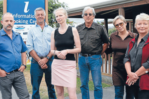 LOSING BATTLE: Murchison residents, from left, Daryl Ealand Simon Blakemore, Sylvia van der Oest, Rex Barrick, Princess Hart, and Karen Steadman failed in their bid to save the town's i-Site.