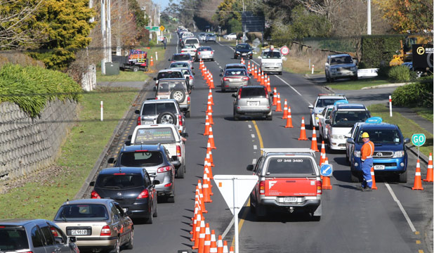 CRAWLING: Fieldays traffic on State Highway 1 at a standstill.