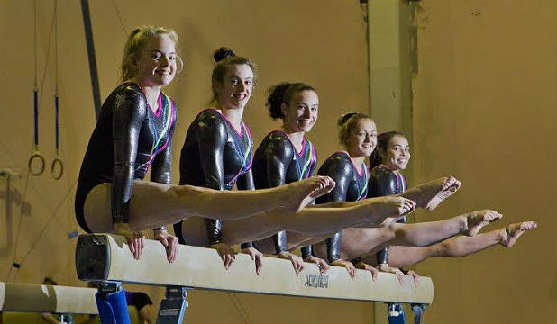Beaming: Members of the Commonwealth Games women's  artistic team, from left,  Charlotte Sullivan, 16,  Anna Tempero, 19, Courtney McGregor, 15, Mackenzie Slee, 16 and Brittany Robertson, 19, all from Christchurch School of Gymnastics.