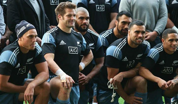 EVERYONE IN: The All Blacks pose for a team photo at yesterday's captain's run in Dunedin.