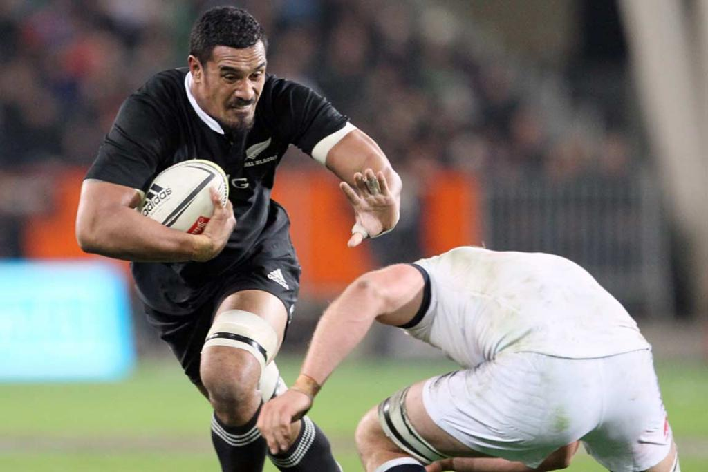 No 8 Jerome Kaino charges forward against England.