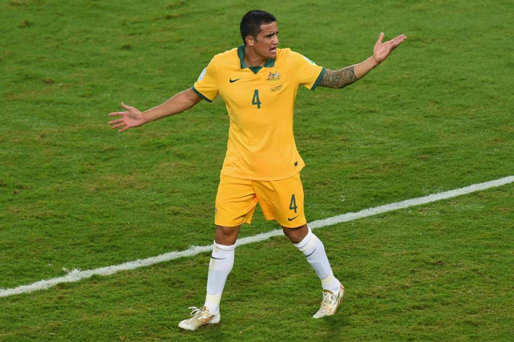 Australian striker Tim Cahill remonstrates after having a goal disallowed against Chile.