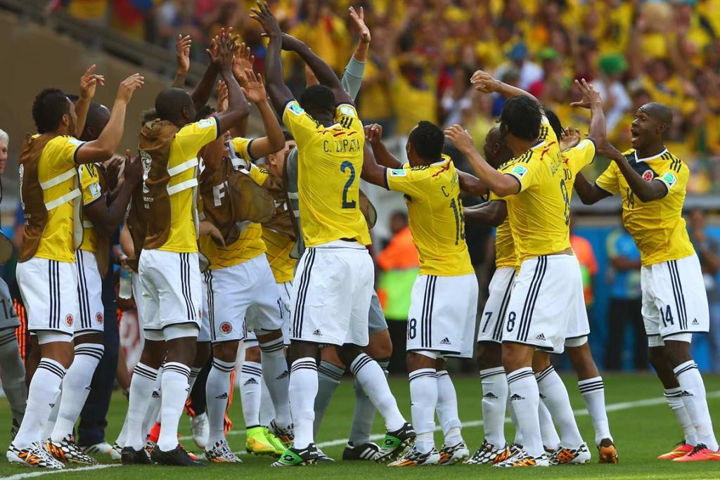 Colombia players dance in unison after their first goal in Belo Horizonte.