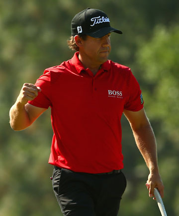 PUMPED: Erik Compton, the recipient of two heart transplants, finished tied for second at the US Open.