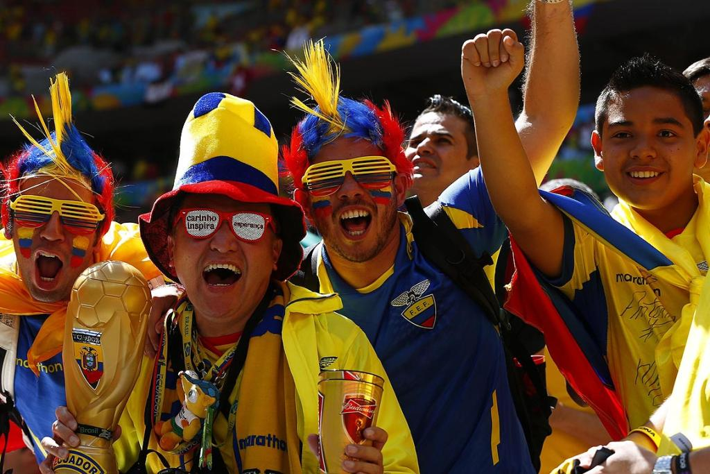 Fans of Ecuador cheer before the start of the Group E match against Switzerland.