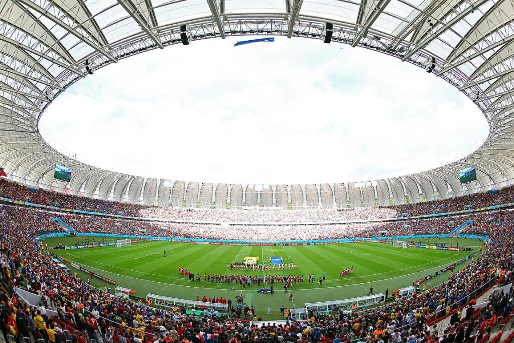 A general view as the teams line up prior to the Group E match between France and Honduras at Estadio Beira-Rio.